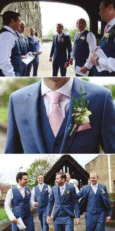 LUV BRIDAL | Blush Buttonholes and pocket squares on same side... I love how they both reveal at the same time. #LuvBridal #Blush #Wedding #Photography #Inspiration #Groom