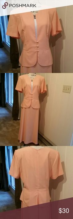 "Pretty in Peach Dress Beautiful peach colored 1 piece dress. This would be so pretty on the mother of the bride for either the wedding or bridal shower it's also perfect for your office job. It's dressy without being formal. 54"" from shoulder to hem. Absolutely like brand new. You won't be disappointed with this purchase. Danny & Nicole Dresses"