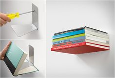The invisible bookshelf, consists of a book that is actually supporting a shelf for books.
