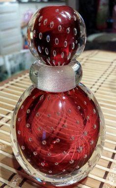 ESTATE MID CENTURY MURANO PURPLE SOMMERSO BULLICANTE ART GLASS PERFUME BOTTLE