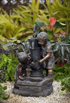 Resin/Fiberglass Water Pump and Kids Water Fountain with LED Light