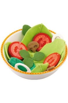 HABA Play Food Salad Bowl Summer Charm by HABA. $13.59. Set includes Salad Bowl and 17 felt salad pieces. Designed for ages 3 years and older.. Promotes healthy eating habits. Includes every thing to make a great pretend salad. HABA 5615 - Teddy has prepared a delicious salad. Served in this lovely salad bowl the salad tastes twice as good. Contents: Salad bowl Summer Charm, salad leaves, olive slices, mushroom slices, onion rings and tomato slices. Material: melamine, felt....
