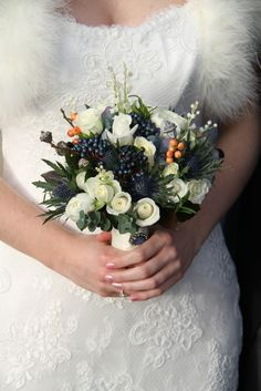 Flower Design Events: Beautiful Winter Wedding Bouquet to tone with Navy Blue
