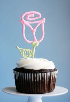 edible rose cupcake toppers