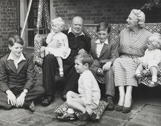 Sir Winston Churchill, with his family at Chartwell House, Kent in 1951.