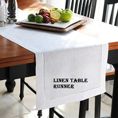 Linen Table Runner In optical White ,size 14x72 Inches with 100% Pure Linen - Hand Crafted, Hand Stitched Table Runner with Hemstitch detailing Offered By Linen Clubs