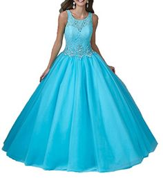 55b2ddeb1103 Dexin Women's Crystal Lace Top Ball Gown Vestidos 15 Quinceanera Dress 2 US  Turquoise