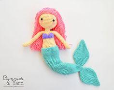 Patrón de Crochet Mindy La Sirena . Muñeca por BunniesandYarn