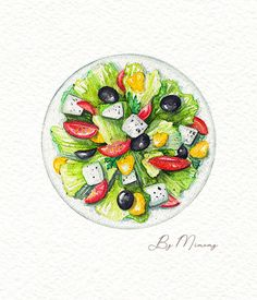 watercolor illustrations piping hot for all lovers of delici. watercolor illustrations will help you with this! Watercolor Food, Watercolor Images, Watercolor Illustration, Salad Drawing, Food Drawing, Food Art Painting, Cooking Movies, Food Sketch, Food Cartoon