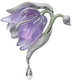 Caresse d'Orchidées par Cartier brooch. Platinum, amethyst, garnets, briolette-cut diamonds, diamonds. PHOTO: Vincent Wulveryck © Cartier 2011    Via The Jewellery Editor.