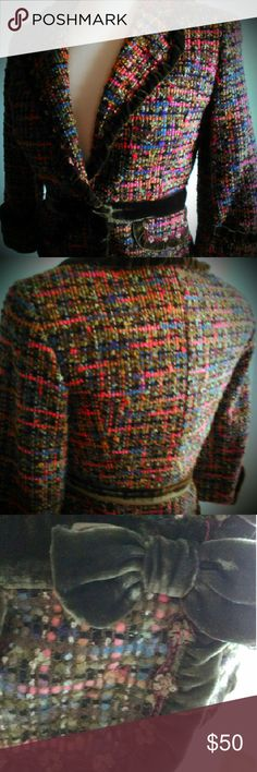 Cynthia Steffe Colorful Tweed Jacket Sz M I own three of these and a skirt. It is absolutely my favorite fabric ..Green velvet trim and bow with sequin detail. I also have one in large if anyone is interested I can post it. Cynthia Steffe Jackets & Coats Blazers