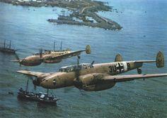 "German Messerschmitt BF.110D-1 belonging to Squadron ZG26 ""Eagle"" in flight over…"