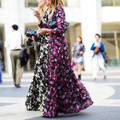 A floor-skimming floral gown worn casually for day is street-style gold.