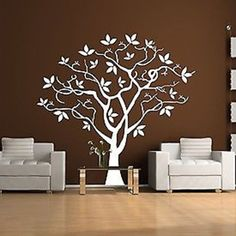 """Twisted Tree Vinyl Wall Decal Sticker Measures approximately 75"""" wide by 72"""" high. Available in the color of your choice!! We now have 21 MATTE FINISH COLORS to choose from!!! See our COLOR CHART. If"""