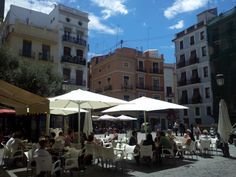 Terrace in Valencia under the sun.