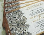 Gold Paisley Wedding Invitations - Black and White and gold metallic card stock for Ethnic Wedding - Sample Art Deco Wedding, Wedding Paper, Wedding Cards, Our Wedding, Dream Wedding, Wedding Stuff, Gatsby Wedding, Formal Wedding, Black Wedding Invitations