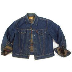 70s Levi's Blanket Lined Jacket / Vintage 1970s Red Tab Trucker Jacket with Troy Wool Lining / Dark Wash Western Jean Jacket USA Made / M L by SpunkVintage