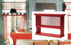 A fiery red plate rack matches other custom pieces and brightens the island in this cozy cottage kitchen. Plate rack, about $212; doorcountywoodworks.com
