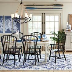 Nautical Dining Room with Rope Chandelier