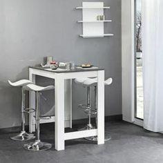 CURRY Table bar L110 cm piétement + plateau blanc Amazone 137 ... 7130dceda6f6