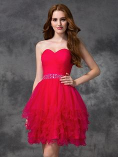 A-line/Princess Sweetheart Beading Sleeveless Short/Mini Satin Cocktail Dresses JollyProm