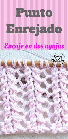 Un punto vintage, para prendas de invierno o de verano: Punto Enrejado, verdadero encaje en dos agujas Source by lvguillen VEJA MAIS lvguillen. Knitting Help, Knitting Stiches, Lace Knitting, Crochet Stitches, Gilet Crochet, Crochet Wool, Tunisian Crochet, Free Crochet, Stitch Patterns