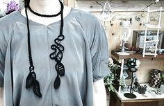 Point Lace Crochet necklace - inspiration. Crocheted ribbon and cord with needle lace fillings.