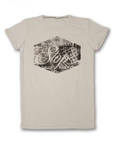 Бежова мъжка тениска с щампа - СТОП  #тениска #тениски #мъжкатениска #дънки #фешън #лято #лято2015 #колекция2015 #тенискиспринт