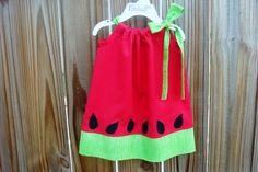 Watermelon Pillowcase Dress!  Just ordered Ava one.  How cute for her Birthday pictures!