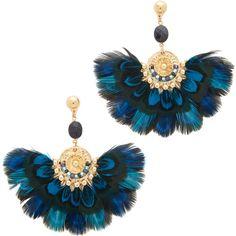 GAS Bijoux Gaia Earrings ($305) ❤ liked on Polyvore featuring jewelry, earrings, multi color jewelry, gas bijoux, multicolor earrings, feather earrings and colorful earrings