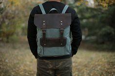 Handmade Canvas Leather backpack/ Travel от NativeLeatherDesign