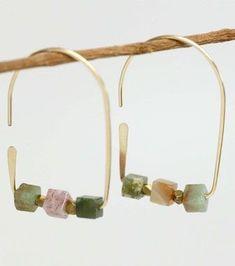 Golden Flat Bottom Arch Ear Wires with Cube Gemstone Beads Beaded Earrings, Earrings Handmade, Beaded Jewelry, Handmade Jewelry, Unique Jewelry, Opal Necklace, Luxury Jewelry, Jewelry Crafts, Jewelry Art
