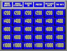 Double Jeopardy Board