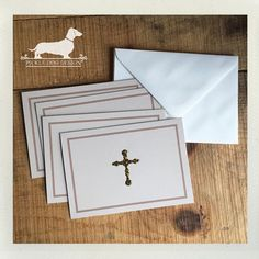 CLEARANCE Cross. Note Cards Set of 4  by PickleDogDesign on Etsy