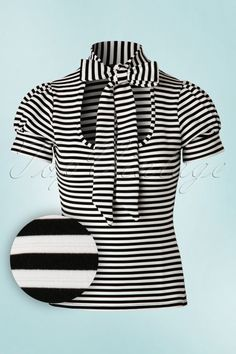 Vintage Chic Black and White Bow Striped Top 111 14 19142 20160429 0004W1