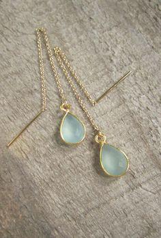Sea Green Chalcedony Threader Earrings by julianneblumlo on Etsy