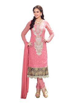 Pink #Designer #SalwarSuit #USA  For More Salwar Kameez Check this page now :-http://www.ethnicwholesaler.com/salwar-kameez