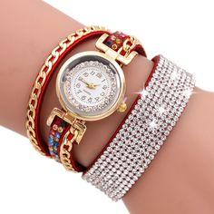 Women Fashion Casual Analog Quartz Women Rhinestone Watch Bracelet Watch