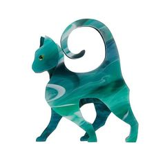 Limited Edition Art Deco Collection 'On the Prowl' sleek & sassy standing cat in stunning marbled greens hand assembled layered resin brooch. Designed in Australia by Erstwilder. Green Colors, Colours, The A Team, Stained Glass Patterns, White Ribbon, Resin Jewelry, Cat Jewelry, Jewelery, Art Deco