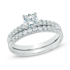 1.00 CT. T.W. Certified Canadian Diamond Bridal Set in 14K White Gold (H-I/I2)  - Peoples Jewellers