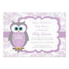 Owl Baby Shower Invitations, Purple, Gray