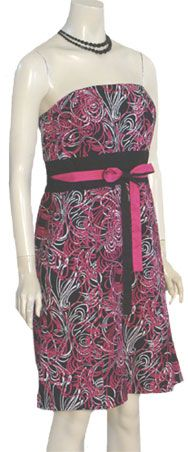 Ann Taylor Strapless Dress $40.00   Adorable new strapless cotton dress with a black, fuchsia and white swirl print.