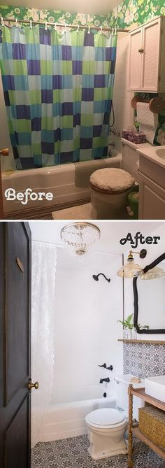 Pep Up a White Bathroom With Vibrant Accessories Patterned Tiles, Vintage Light Fixtures and Vanity.