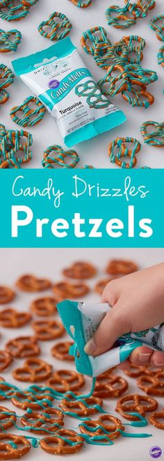 Candy Drizzles Pretzels - This quick handmade treat is easy and fun to do to with the whole family. Great for snacking or serving at a baby shower or birthday party, these candy drizzled pretzels are (Fall Bake Treats) Baby Shower Desserts, Baby Shower Favors, Baby Shower Parties, Baby Shower Themes, Baby Shower Invitations, Baby Shower Gifts, Shower Ideas, Shower Party, Bridal Shower