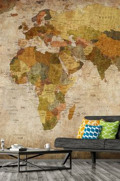 Have the world by your feet with this stunning, made-to-measure map mural. Available in beautiful, on-trend colors, this map mural is perfect for creating a feature wall in your living room. Prices shown are per square foot. Visit Wallsauce.com for more map murals