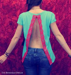 Bohemian top open back shirt slit red lace doily Boho Hippie style layering Upcycled clothing OOAK by TheBohemianDream