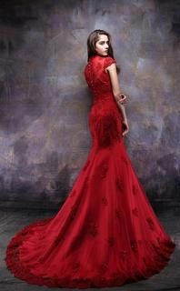 Chinese Wedding Lace Gown - YannyExpress - 2 7ba2a613dc83