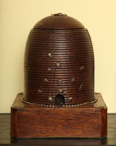 Victorian carved bee skep cigar humidor, c. 1875