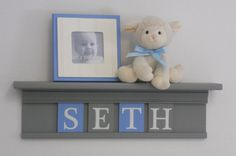 """Kids Wall Shelf - Nursery Shelves - 24"""" Grey Shelf with 4 Wooden Letter Plaques in Light Blue and Gray  $42.00, via Etsy."""