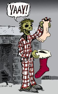On the fourth day of Zombie Christmas, my true love gave to me… BRAINS! (c) 2008 Sean Bieri (Check out the Zombie Christmas collection page for a new comic every morning between December Zombie Christmas, Christmas Humor, Christmas Stocking, Dark Christmas, Merry Christmas, Christmas Hanukkah, Magical Christmas, Christmas Morning, Christmas Stuff